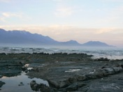 Kaikoura Ranges meet Pacific Ocean at dusk